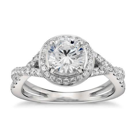 lhuillier twist halo engagement ring in platinum
