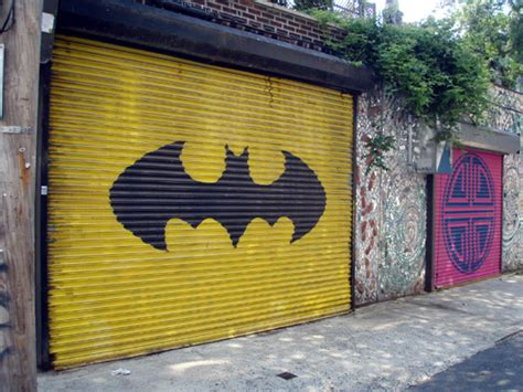 awesome garage doors batman garage door sweetest door on south st geekadelphia