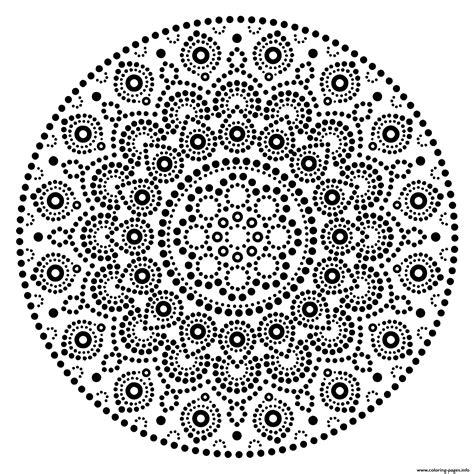 mandala design dots pattern coloring pages printable