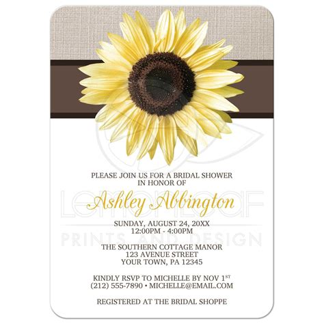 bridal shower invitations rustic sunflower and mocha linen