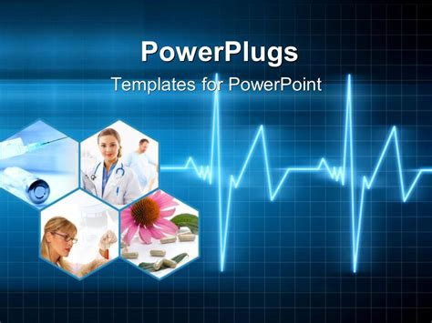 powerpoint template medical collage with doctors pills