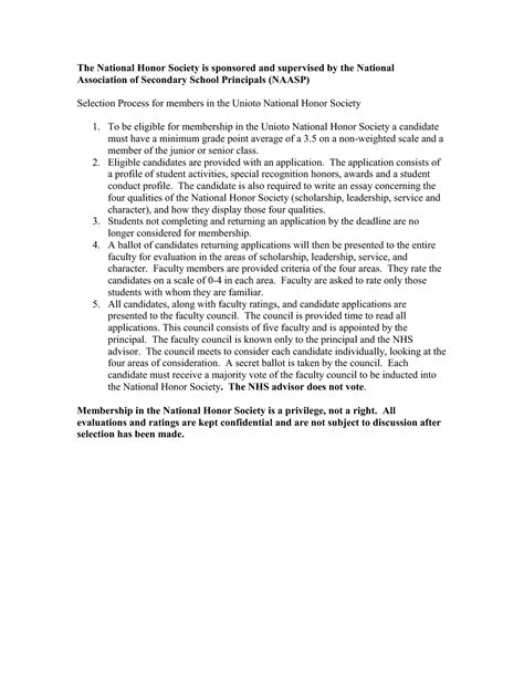 National Honor Society Application Essay by National Honor Society Application Essay