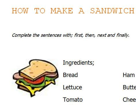 How To Make A Worksheet by How To Make A Sandwich Worksheet