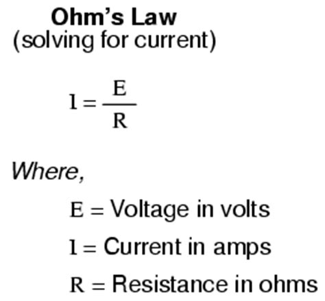 resistor current formula ohm s