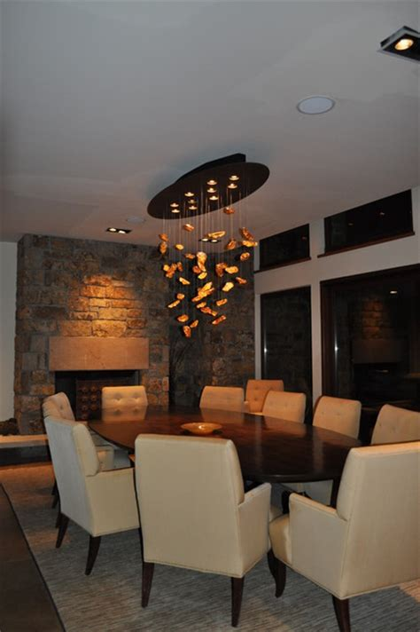 Modern Chandelier Dining Room Dining Room Custom Chandelier Modern Dining Room Denver By Robyn Interiors Ltd