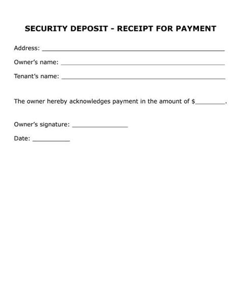 Security Deposit Receipt Template And Disclosure by Free Printable Forms