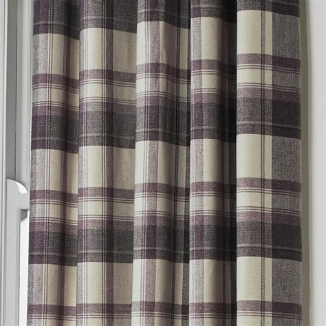 ready made check curtains uk belvedere wool feel tartan check lined eyelet curtains