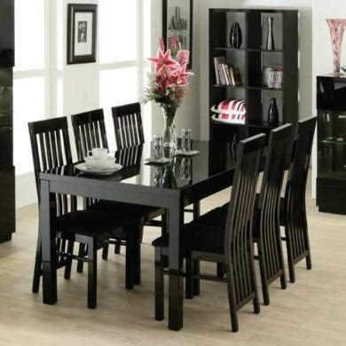 zone dazzle high gloss black rectangular dining table