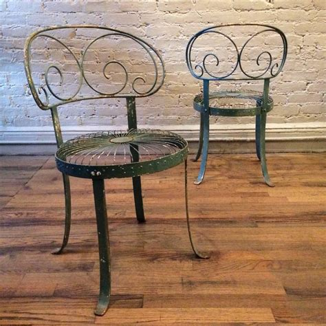 set green wrought scroll back garden chairs for