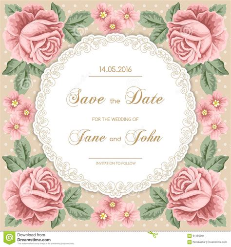 free vintage wedding invitation vector vintage wedding invitation with roses stock vector