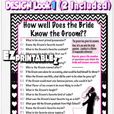 bridal shower how well does the groom questions printable bridal shower how well does the