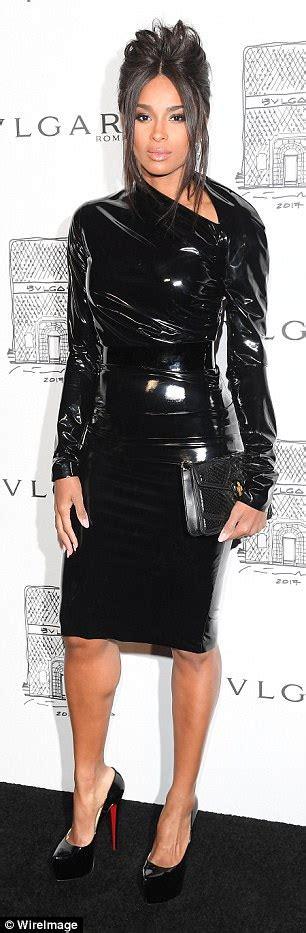 Dress Bulgary Black ciara wows in fitted black pvc dress for bvlgari bash