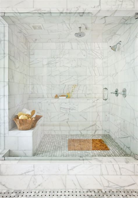 Marble Basketweave Tile Bathroom Traditional with Large