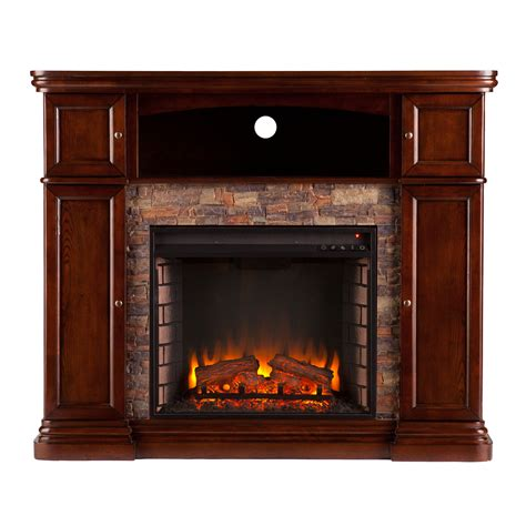 Electric Fireplace Faux by Davenport Espresso Faux Electric Media Fireplace