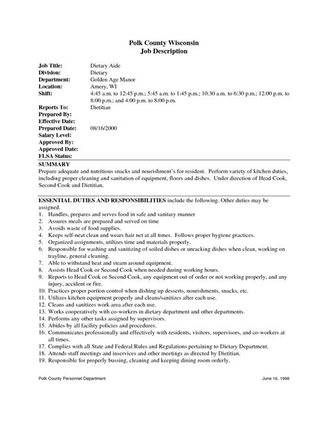Resume Description dietary aide description for resume