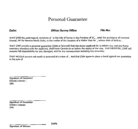 Personal Guarantee Letter For Visa Application Personal Guarantee Form Downloadable Personal Guarantee Form Downloadable Personal Guarantee