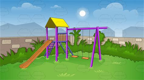 kids slides and swings cartoon clipart children s swing and slide in backyard