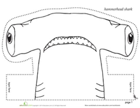 printable alphabet headbands hammerhead shark headband coloring page education com