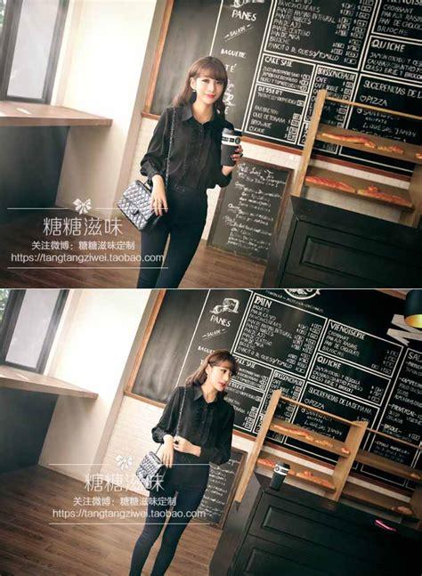 Atasan Cewek Hitam Chiffon Murah Import Cina Korea Style kemeja hitam import modis 2016 jual model terbaru murah