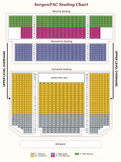 garden state arts center schedule seating chart bergen performing arts center