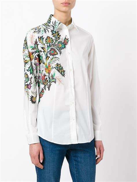 Floral Embroidered Shirts White etro floral embroidered shirt in white lyst