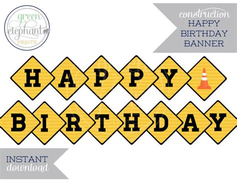 construction happy birthday banner printable items similar to construction party printable happy