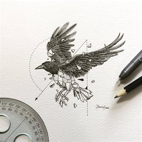 minimalist raven tattoo intrincados dibujos de animales salvajes fusionados con