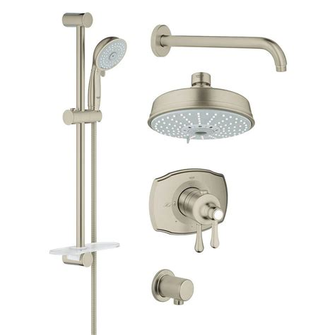 Brushed Nickel Shower System by Grohe Grohflex Shower Set 4 Spray Shower System In Brushed