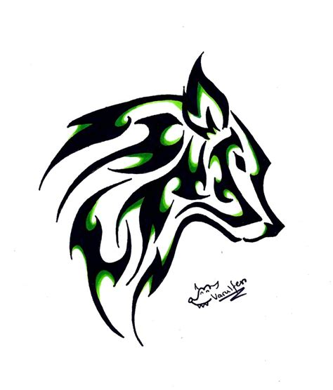 wolf and tribal tattoo simple wolf and moon