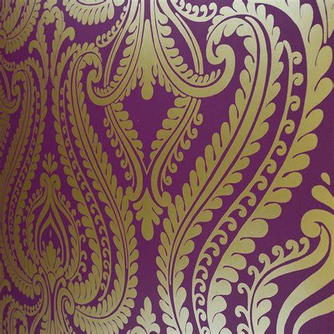 Purple Gold Wallpaper Uk | shimmer damask metallic wallpaper purple gold ilw980013