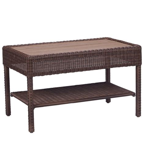 Outdoor Wicker Coffee Table Hton Bay Park Brown Wicker Outdoor Coffee Table 65 21455 The Home Depot