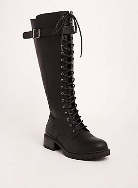 lace up knee high combat boots wide width wide calf