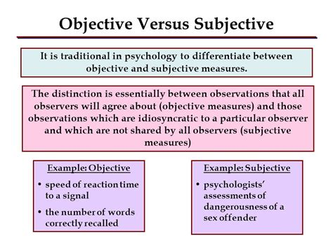 exles of objective and subjective statements variables and their operational definitions ppt