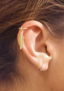 cartilage piercing earrings gold cartilage hoop gold feather earring boho by midnightsmojo