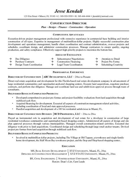 construction executive resume sles resume templates project manager construction manager