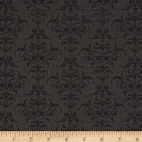 Skull Upholstery Fabric by Chillingsworth Skull Damask Black Discount Designer
