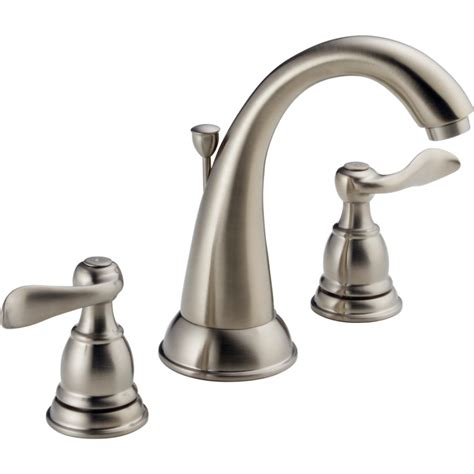 Delta Bathroom Sink Faucet by Shop Delta Windemere Brushed Nickel 2 Handle Widespread Watersense Bathroom Sink Faucet Drain