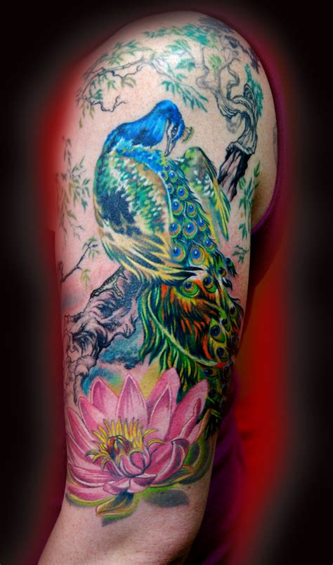 peacock sleeve tattoo designs peacock by litos tattoos