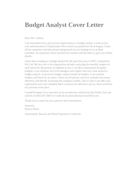 Budget Officer Cover Letter by Basic Budget Analyst Cover Letter Sles And Templates