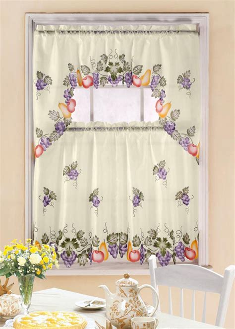 grapevine curtains grapevine printed kitchen window curtain set complete