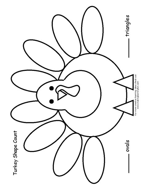 blank turkey template turkey shape count print the