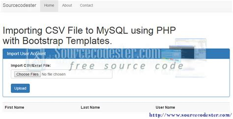 php mysql templates importing csv file to mysql using php with bootstrap