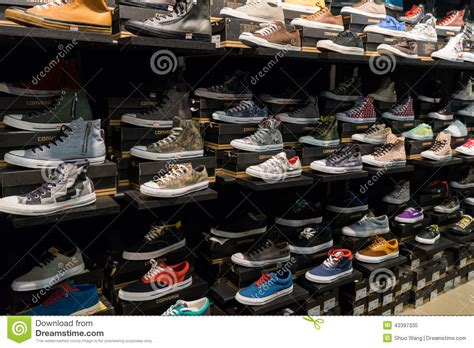 Converse Shoe Rack by Rack Of Shoes Editorial Image Image Of Leather