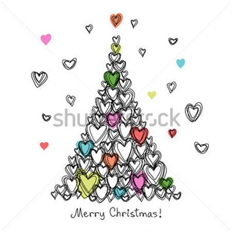 Pensil Natal vector kaart met kerstboom gemaakt harten vakantie kinderachtig getekend abstracte