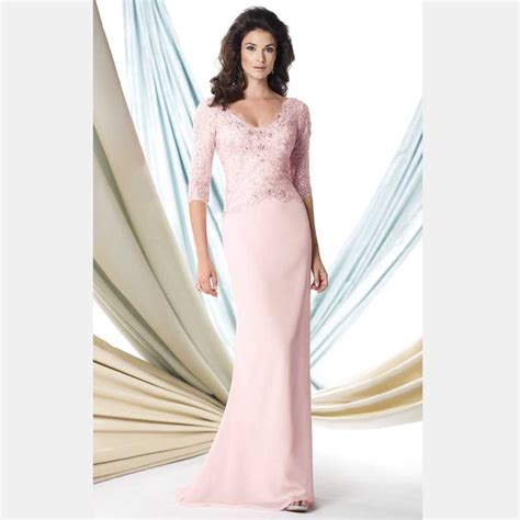 lace trumpet mother of the bride dress 98608 evening dresses plus size chiffon fabric three quarter sleeves mother of