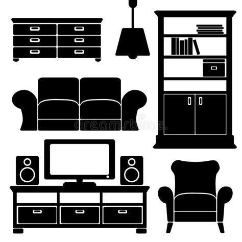 interior design elements icons stock vector art 165814827 living room furniture icons set black isolated s stock