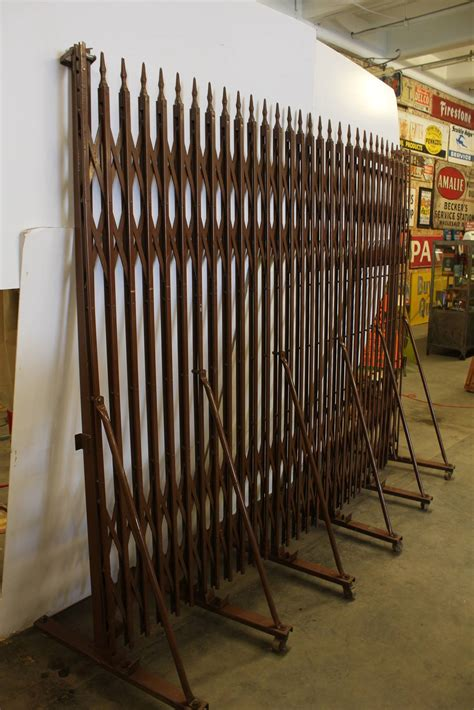 expandable gate vintage industrial expandable metal security gate at 1stdibs