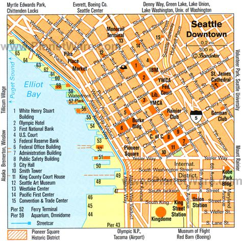 seattle map with attractions 11 top tourist attractions in seattle planetware