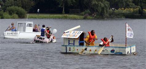 aurora cardboard boat race cardboard boat races launch fox valley united way caign