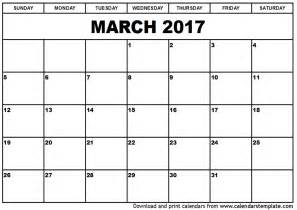 Printable Calendar 2017 March 2017 Calendar Template